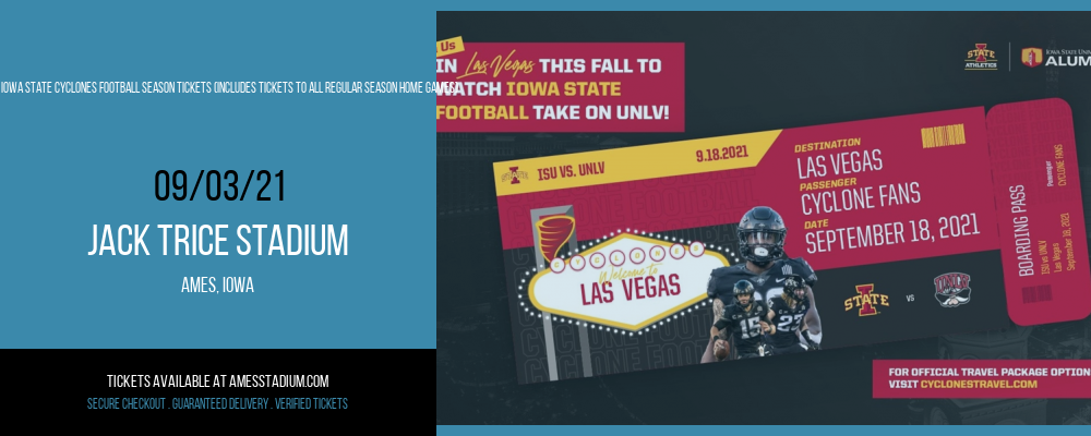 2021 Iowa State Cyclones Football Season Tickets (Includes Tickets To All Regular Season Home Games) at Jack Trice Stadium